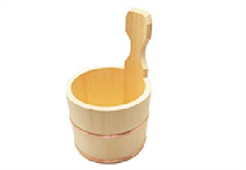 上がり湯、かけ湯には手付き桶(片手桶)がお勧めです