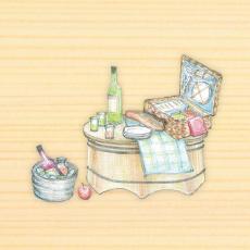 ピクニックテーブル 移動時はバスケット、到着したらひっくり返し、板を載せてテーブルに。