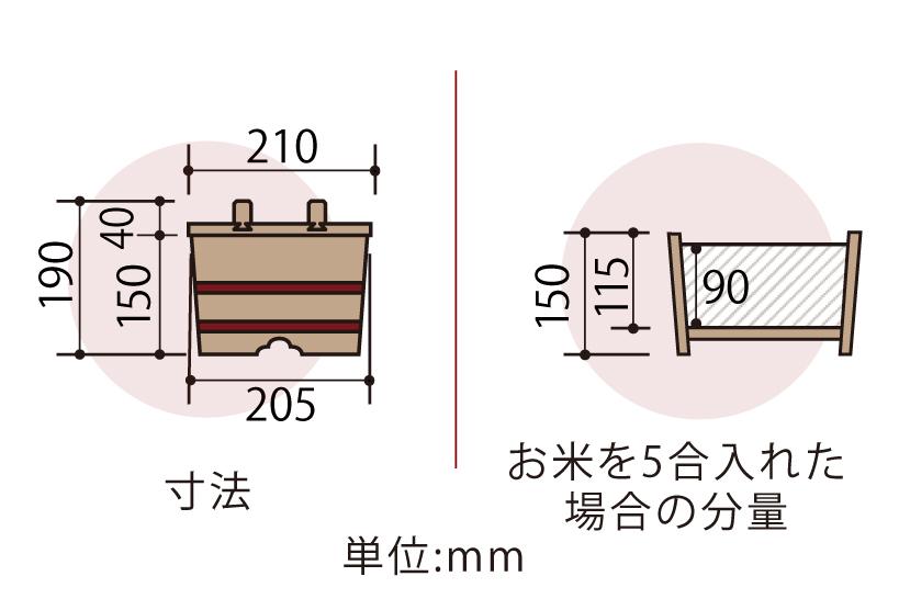 木曽産の椹(さわら)でできたのせ蓋おひつ21cm(七寸)です。ご家庭にちょうど良い約5合サイズです。約3人~6人分。