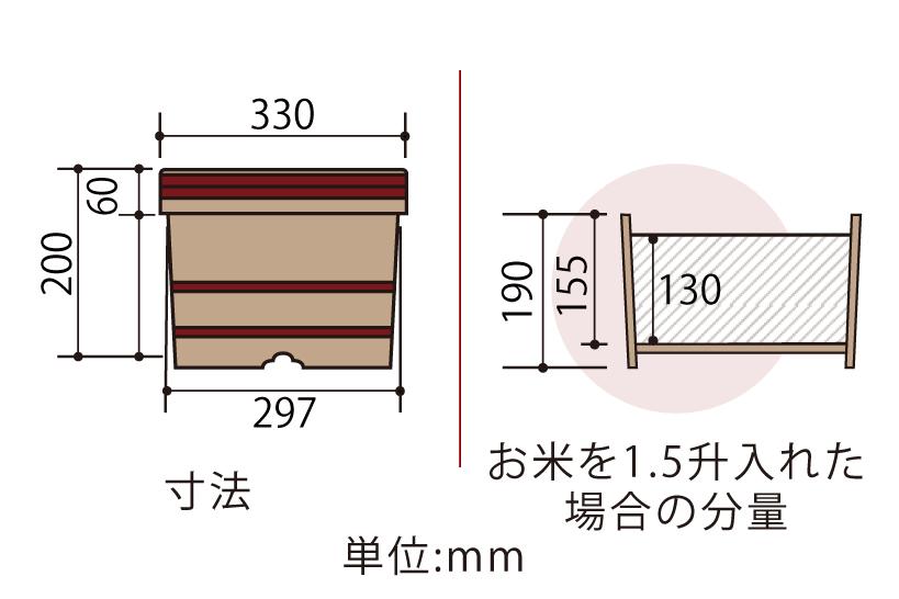 木曽産の椹(さわら)でできた江戸おひつ(江戸びつ)30cm(一尺)です。業務用約1.5升サイズ。約10人~20人分。