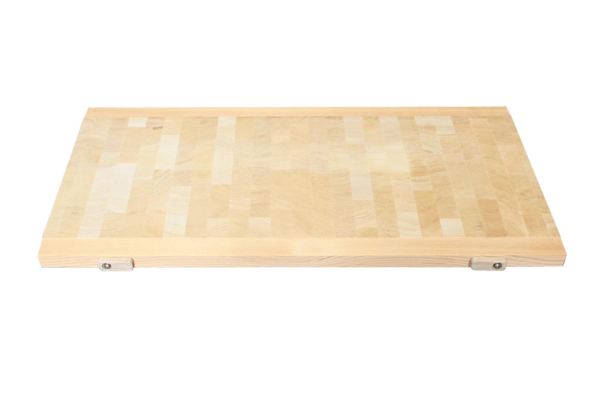 木曽椹(さわら)の角材を小口切りにして、その切り口を合わせた寄せ木づくりのまな板。長く使用しても減りが少なく、弾力性があります。 蕎麦切り面が100㎝×36㎝の少し大きめなサイズでプロ仕様の広さです。