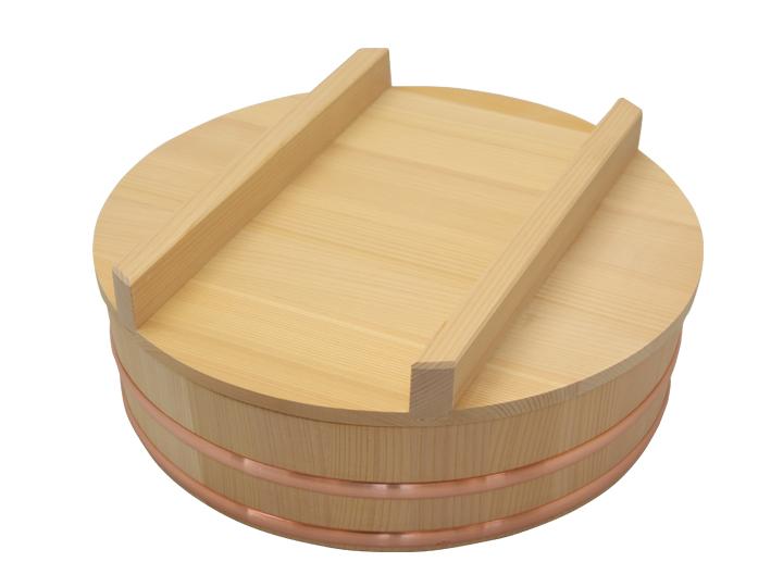 木曽さわらの寿司桶(飯切・飯台)33cm (1尺1寸)。蓋付きセットです。家族でお寿司を楽しむならこのサイズ。6人~7人用です。