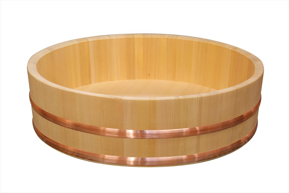 木曽さわらの寿司桶(飯切・飯台)54cm( 1尺8寸)。業務用サイズです。タガは銅でできています。