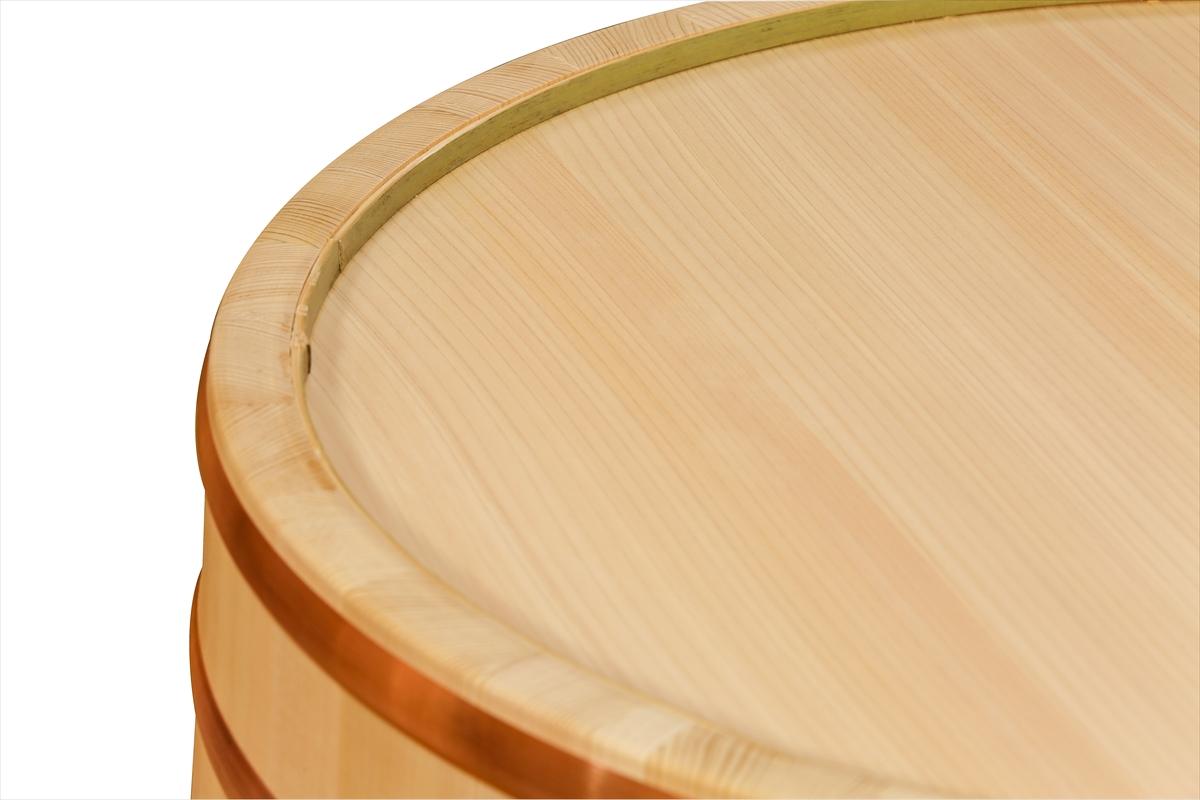 木曽さわらの寿司桶(飯切・飯台)60cm (2尺)。業務用サイズです。タガは銅でできています。