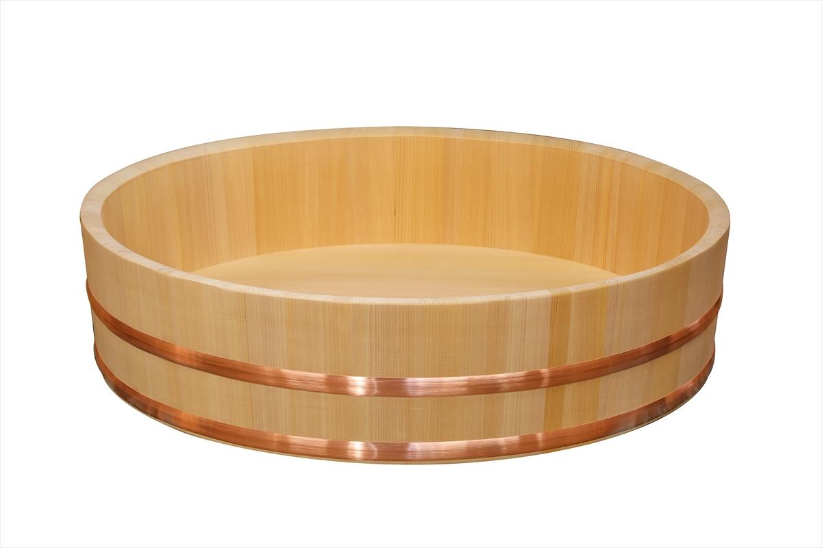 木曽さわらの寿司桶(飯切・飯台)66cm (2尺2寸)。業務用サイズです。タガは銅でできています。