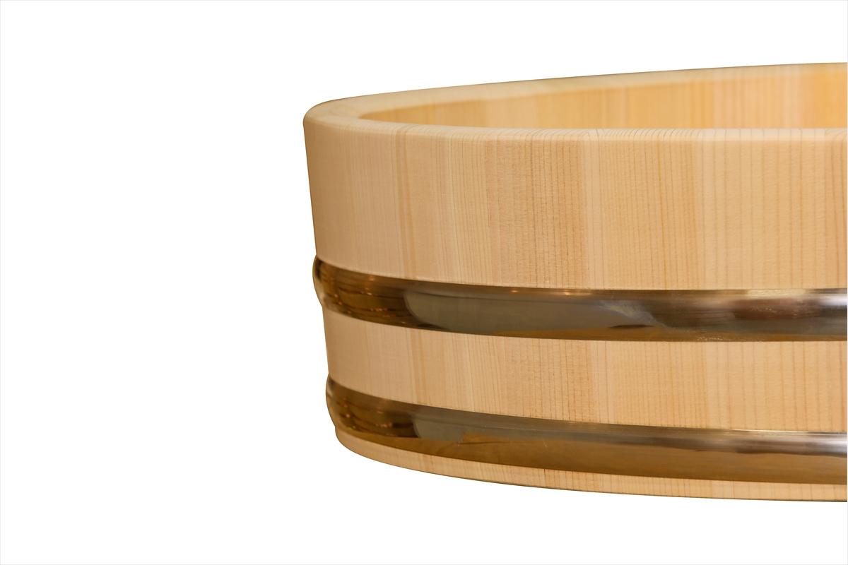 木曽さわらの寿司桶(飯切・飯台)90cm (3尺)。業務用サイズです。タガはステンレスでできています。