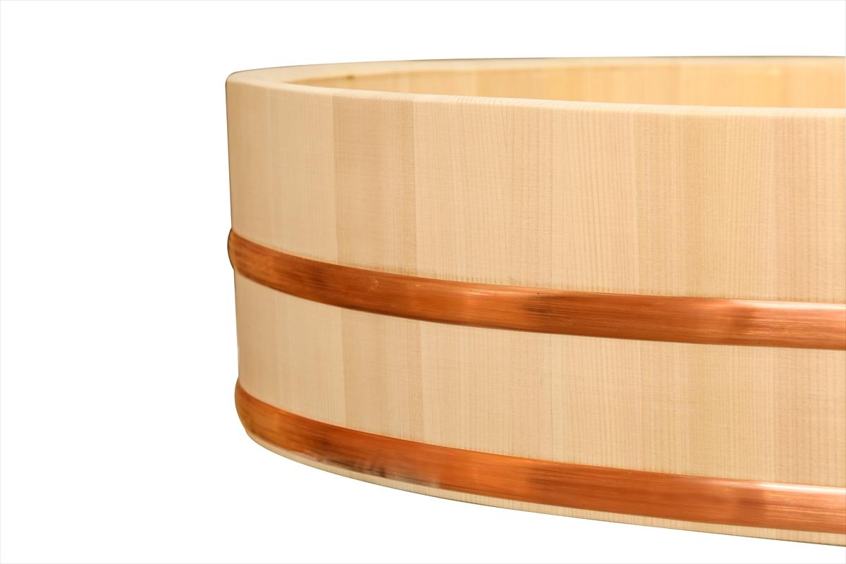 木曽さわらの寿司桶(飯切・飯台)90cm (3尺)。業務用サイズです。タガは銅でできています。