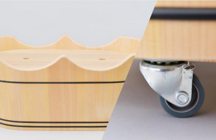 うふっ湯桶 リメイクセット付です。産湯を卒業した後も末永く、「木と親しむ暮らし」を続けてください。マジックテープで取り付けられるキャスター、フタ兼用のテーブル板が付いています。ピクニックテーブルにしたり、キャスター付きのおもちゃ箱にしたり、足湯やペットのベッドにも。※こちらのオプション品は「うふっ湯桶」と同時注文の場合のみ承ります。※ご注文から納品まで、3週間程度かかる可能性がございます。(要相談)