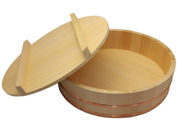 木曽さわらの寿司桶(飯切・飯台)51cm (1尺7寸)の蓋付きセットです。業務用サイズ。